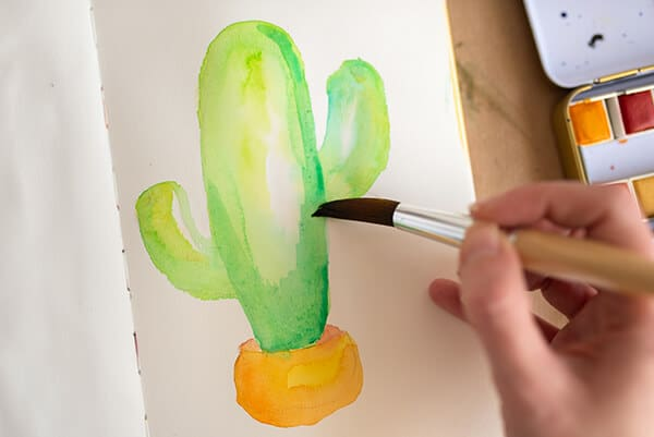 painting a watercolor cactus