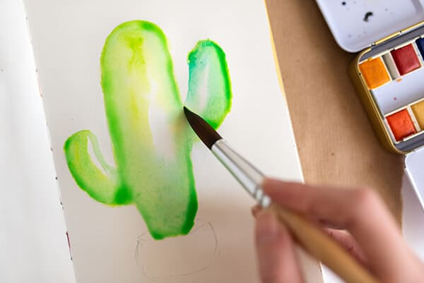 painting shadows on the watercolor cactus