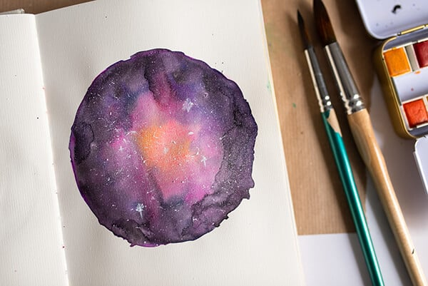 finished galaxy painting with stars