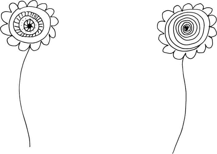 whimsical flower doodles