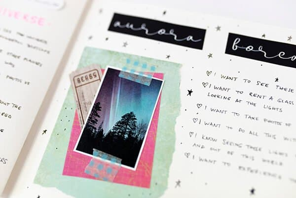 art journal page with framed images