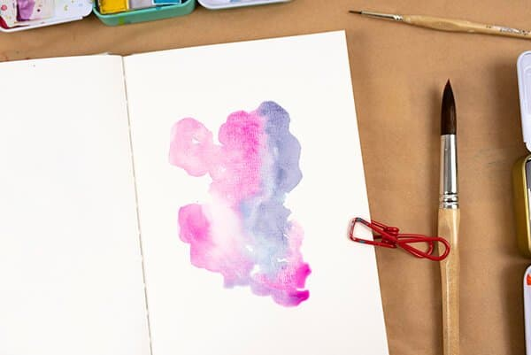 watercolor blob on art journal page