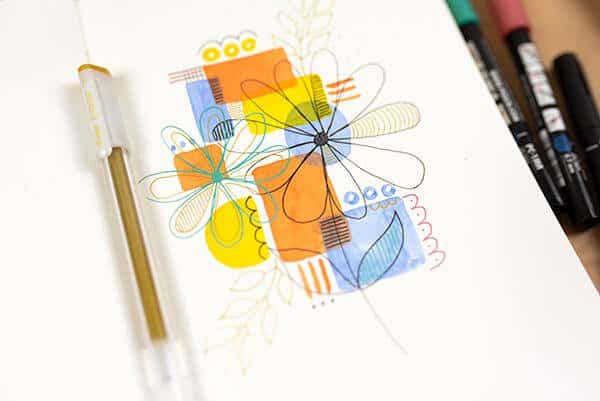 close-up of flower doodles