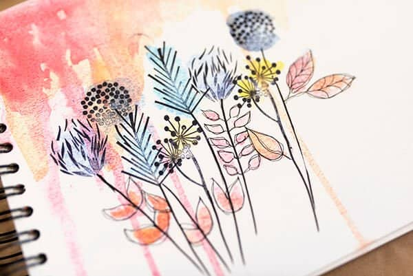 finished watercolor flowers