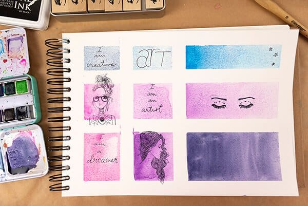journal page with watercolor and stamps