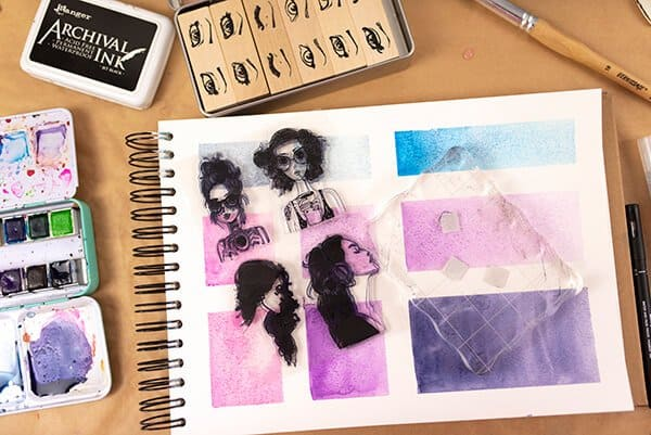 stamps and ink on a journal