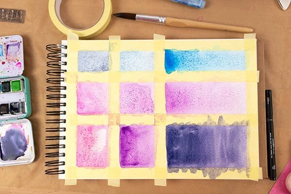 painting watercolor shapes