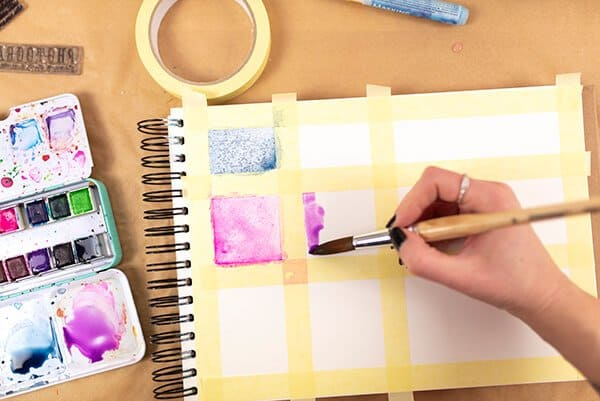 painting squares with watercolor