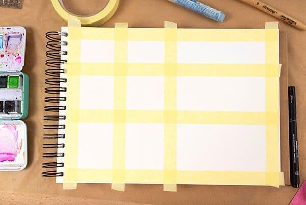 masking tape in an art journal