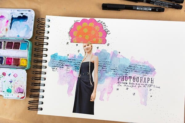 watercolor and collage in art journal