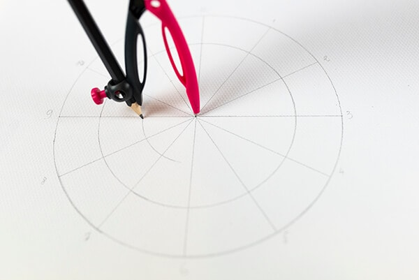 drawing a color wheel with a compass