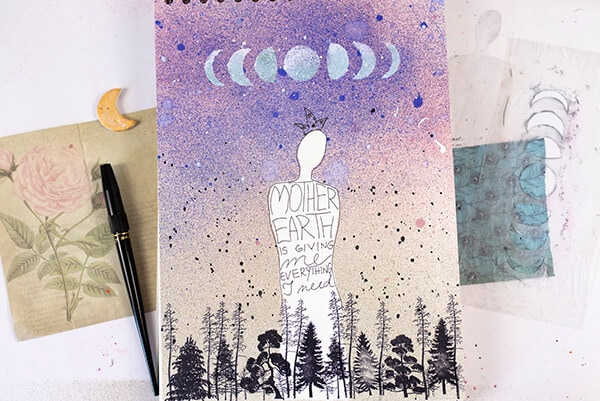 size contrast on art journal page