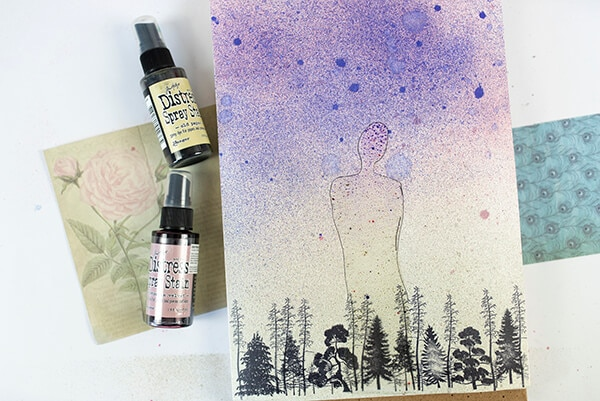 art journal page with sprays