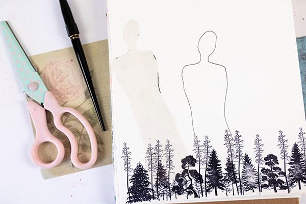 human figure stencil in an art journal