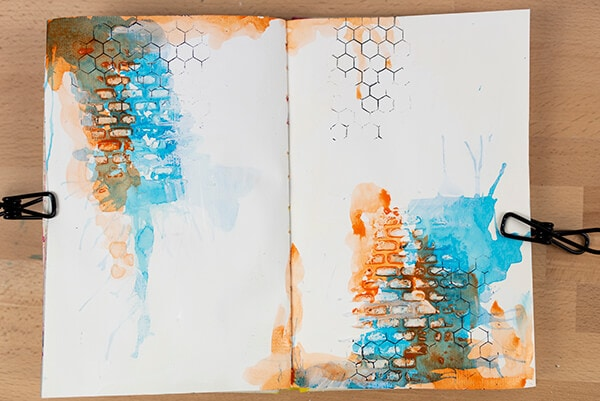 relief paste and watercolor art journal