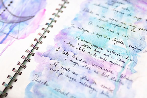 art journal page with a poem and watercolors
