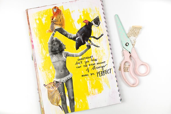 art journal page with collage elements