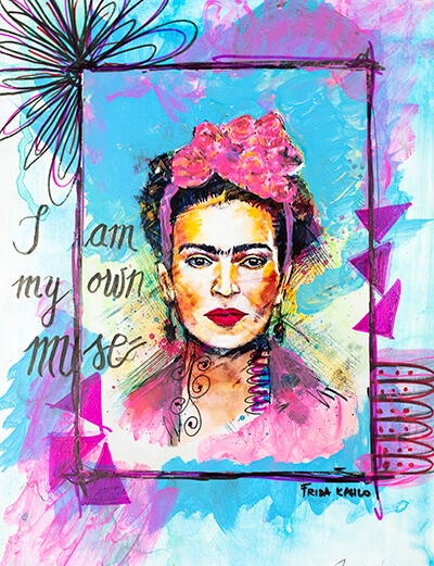 art journal page with a frida kahlo photo