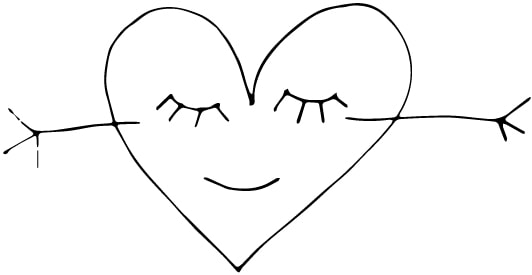a heart with eyes and hands