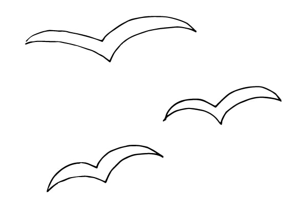three simple birds drawing