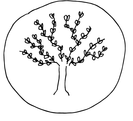 tree drawing in a circle