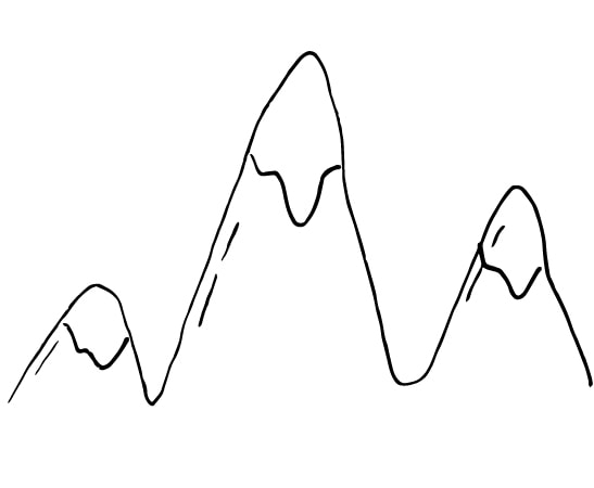mountain peeks drawing