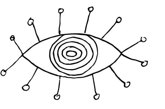 whimsical eye doodle