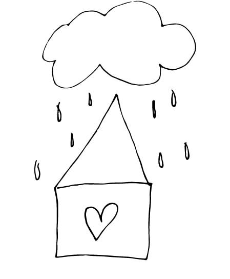 house and rainy cloud drawing