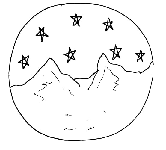 moutains and stars doodle