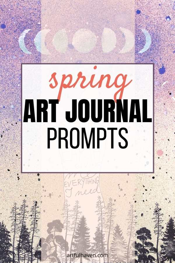 spring art journal prompts pin