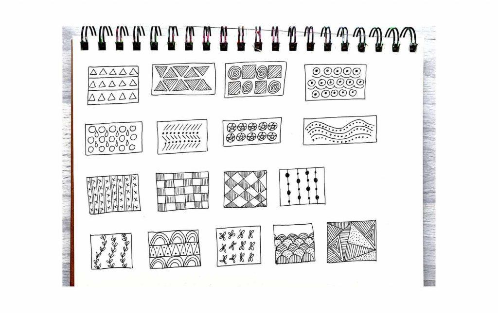 cool patterns in a sketchbook