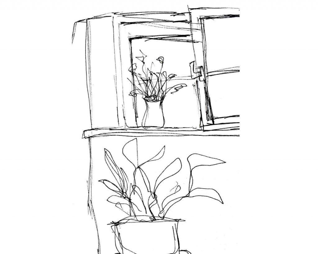 a sketch of a room corner